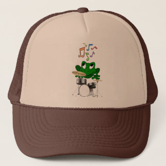 A Frog Dreams of Playing The Drums In A Rock Band Trucker Hat