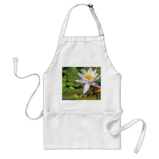A frog under a flower of water lily adult apron