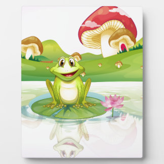 A frog watching his reflection from the water photo plaque