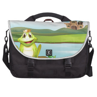 A frog with a crown at the river bags for laptop