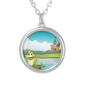 A frog with a crown at the river round pendant necklace