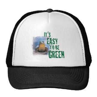 A frog with a green message. Hats