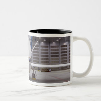 A front view of a Global Hawk unmanned aircraft Two-Tone Coffee Mug