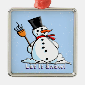 A Frosty Snowman Square Ornament