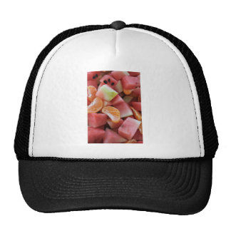A fruit salad of melons and oranges trucker hat
