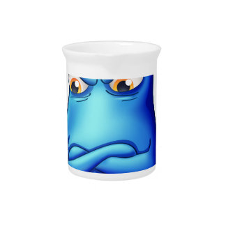 A frustrated blue monster with an empty callout drink pitchers