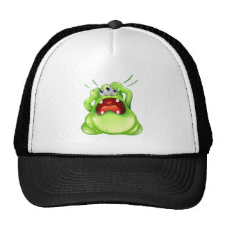 A frustrated three-eyed monster trucker hat