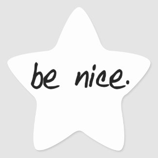 "A full selection of ""be nice."" products. star sticker"