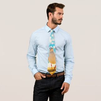 A fun design with a seagull on a beach background. neck tie