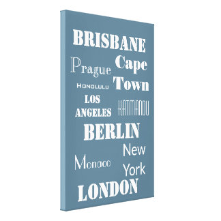 A Fun Personalized travel in soft blue Canvas Print