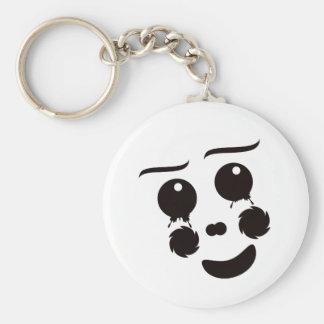 A fun whimsical clown face design graphic key chain