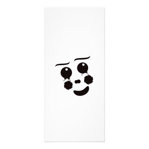 A fun whimsical clown face design graphic rack card