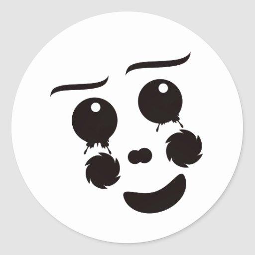 A fun whimsical clown face design graphic classic round sticker