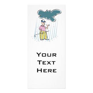 a funny golfer golfing in the rain rack card