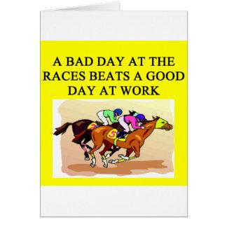 a funny horse player racing joke greeting card