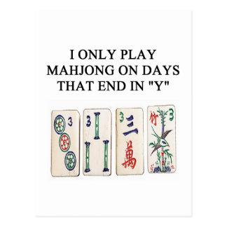 a funny mahjong design postcard