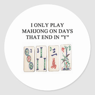 a funny mahjong design round sticker
