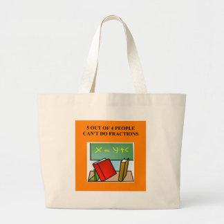 a funny math joke large tote bag