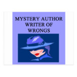a funny mystery writer joke post card