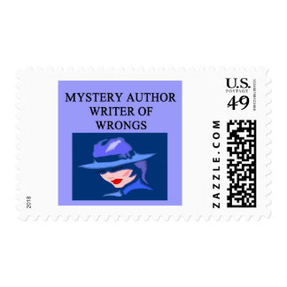 a funny mystery writer joke stamps