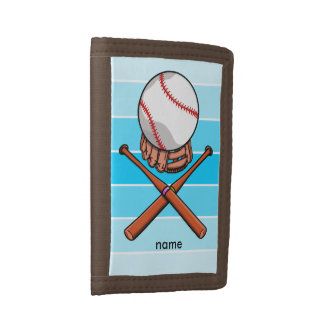 A funny softball or Baseball Cartoon Trifold Wallet