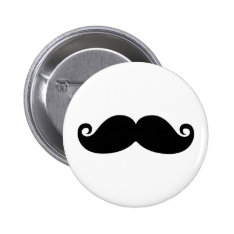 A Funny Vintage Black Mustache Fashion Design. Pinback Button at Zazzle