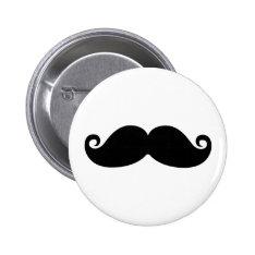 A funny vintage black mustache fashion design. pinback button at Zazzle