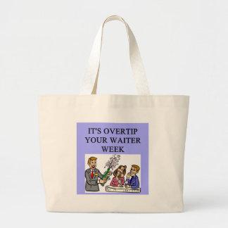 a funny waiter joke tote bag
