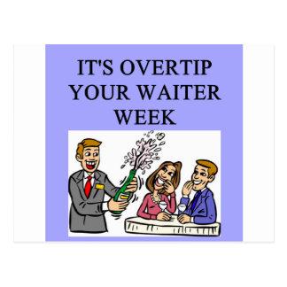 a funny waiter joke postcard