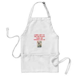 a funny winners and losers joke adult apron