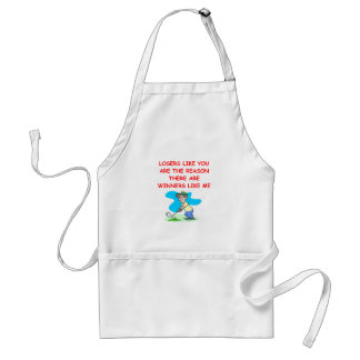 a funny winners and losers joke apron