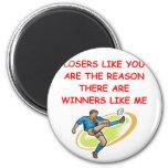 a funny winners and losers joke fridge magnet