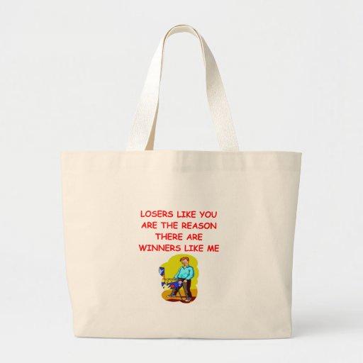 a funny winners and losers joke jumbo tote bag
