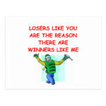 a funny winners and losers joke postcards