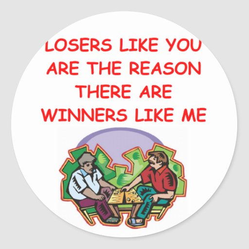 a funny winners and losers joke round sticker