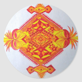 a funny yellow red man face round stickers