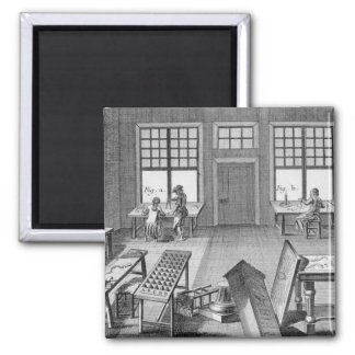 A furniture inlayer's workshop, from the 'Encyclop 2 Inch Square Magnet
