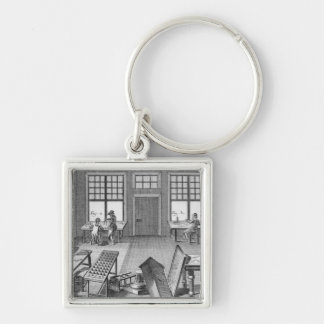 A furniture inlayer's workshop, from the 'Encyclop Keychain