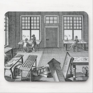 A furniture inlayer's workshop, from the 'Encyclop Mouse Pad