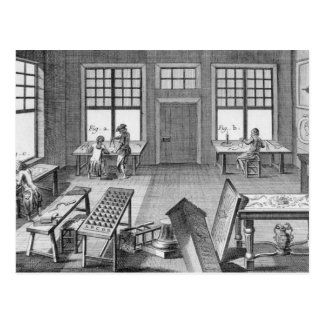 A furniture inlayer's workshop, from the 'Encyclop Postcard