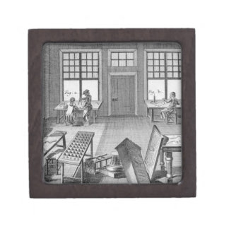 A furniture inlayer's workshop, from the 'Encyclop Premium Gift Box