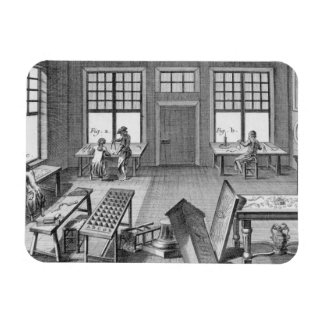 A furniture inlayer's workshop, from the 'Encyclop Rectangular Photo Magnet