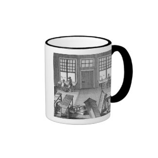 A furniture inlayer's workshop, from the 'Encyclop Ringer Mug