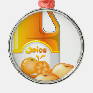 A gallon of orange juice metal ornament