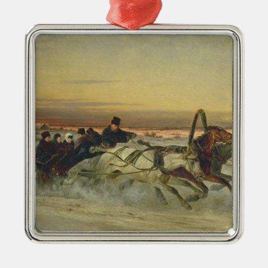 A Galloping Winter Troika at Dawn Metal Ornament
