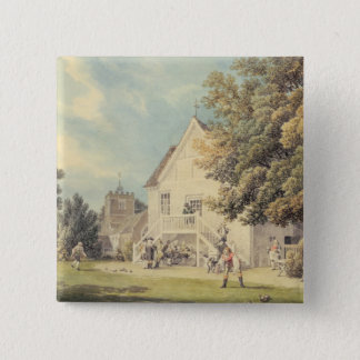 A Game of Bowls on the Bowling Green outside the B Pinback Button