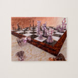 """A Game of Chess Jigsaw Puzzle<br><div class=""""desc"""">A game of chess, the game of kings. This is the ninth move of Paul Morphy vs Duke Karl / Count Isouard from &quot;A Night at the Opera&quot; in Paris, 1858; one of the most famous chess games. The marble chess board with the wooden frame is set on a beige...</div>"""