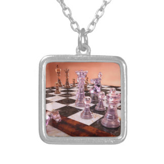 A Game of Chess Silver Plated Necklace