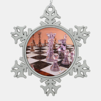A Game of Chess Snowflake Pewter Christmas Ornament