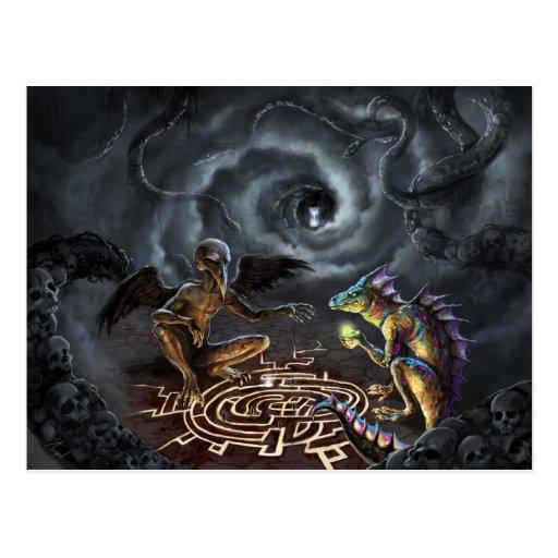 A game of gods postcard